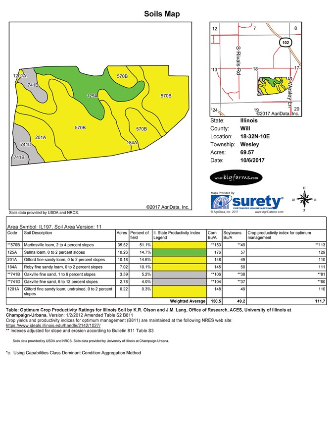 Soil Map of 74 Acres. Wesley Township