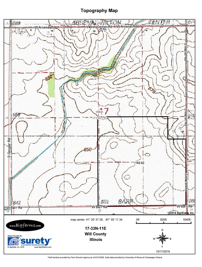 Topographical Map of 150 acres in Wilton Township, Will County