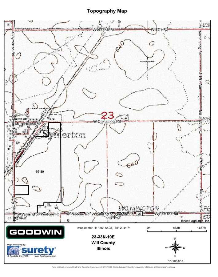 Topographical Map for 58 Acres Florence Township Will County