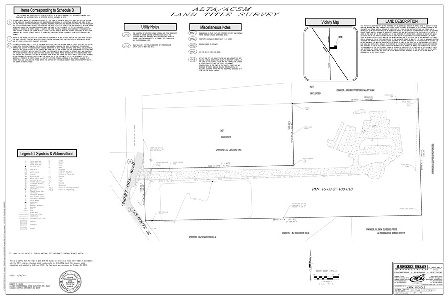 ALTA Survey of 11.91 acres at Cherry Hill road and Rt. 52