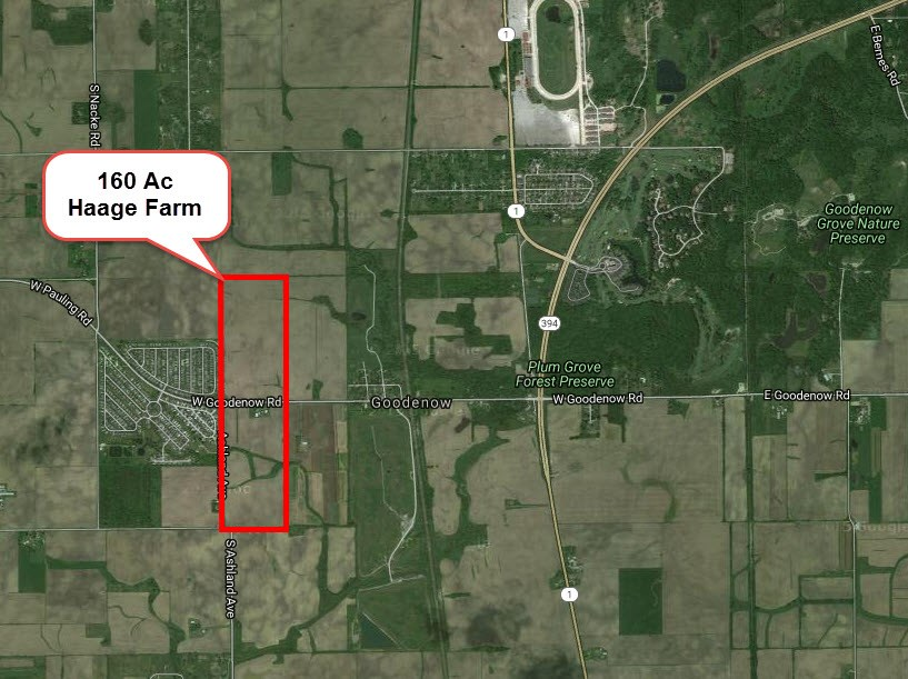160 Acre Haage farm Aerial, Crete Township, Will County