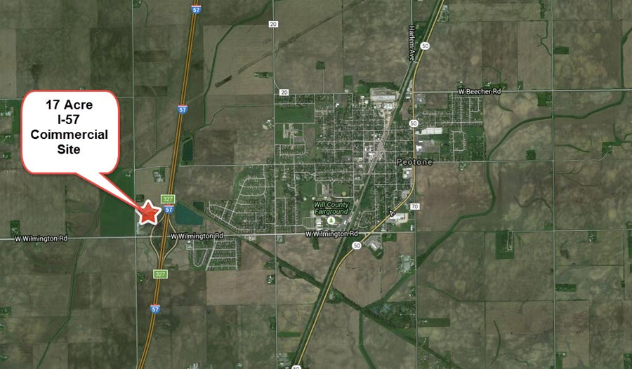 Aerial map of 17 acres on I-57 at Peotone
