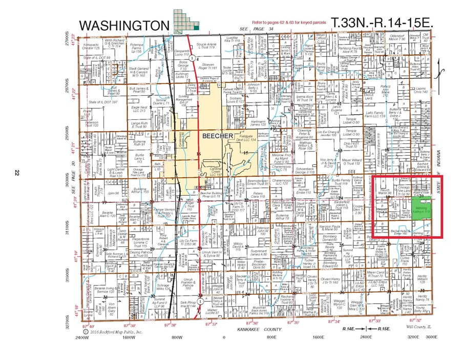 Plat Map of 119 Acres in Washington Township, Will County