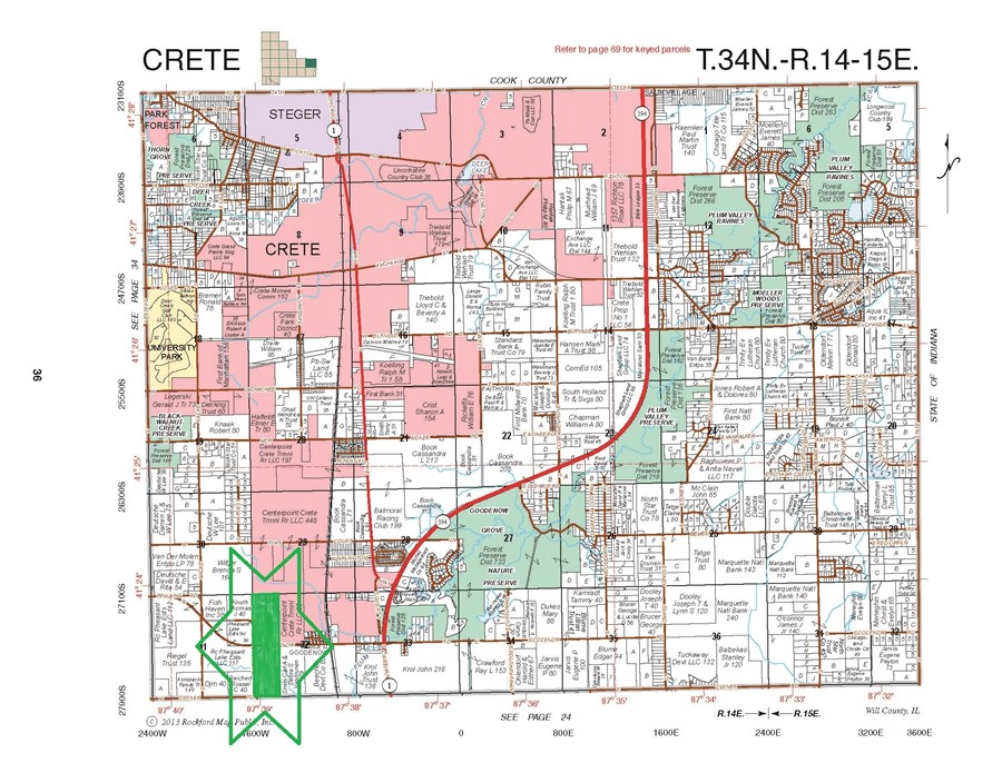 Plat Map of Crete Township 160 acre farm, Will County