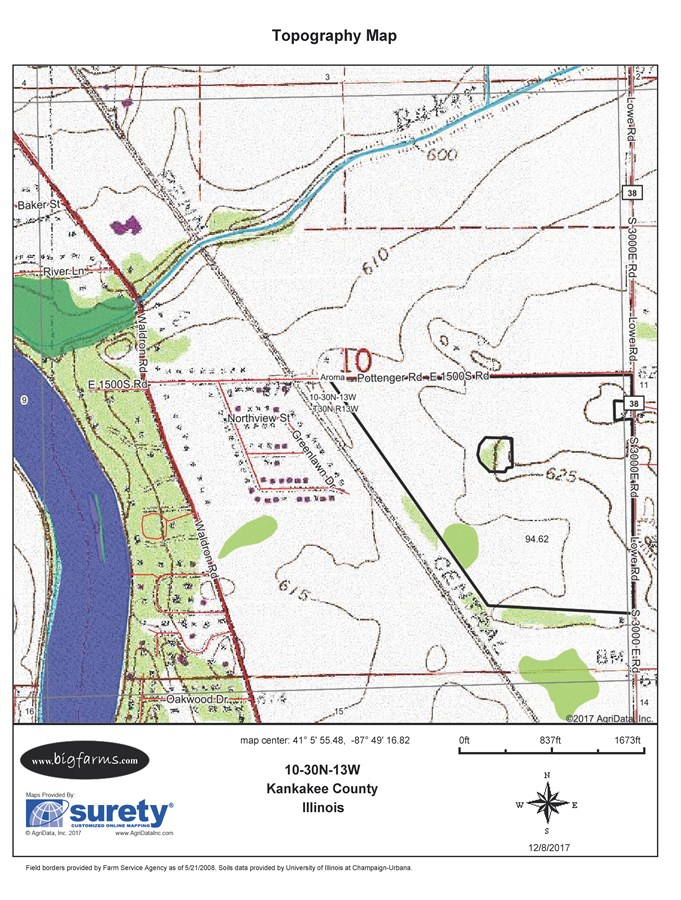 Topographical Map of 99 Acres Aroma Township in Kankakee County