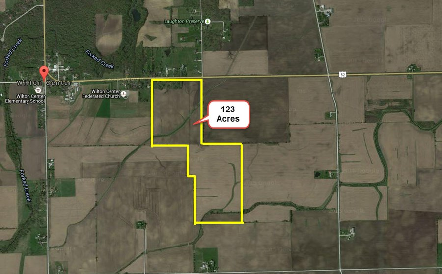 Aerial Map of 123 Acres Wilton Township, Will County Illinois