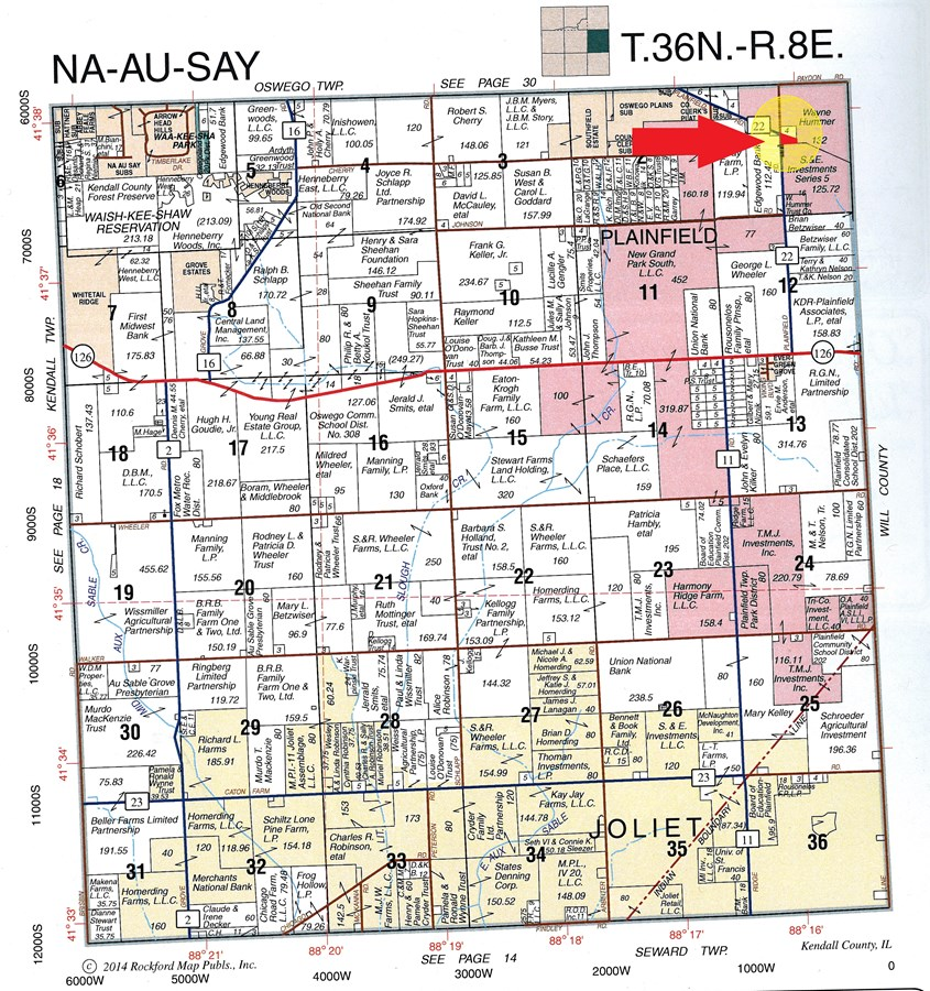 Plat Map of Plainfield Development Site, Na-Au-Say Township, Kendall County