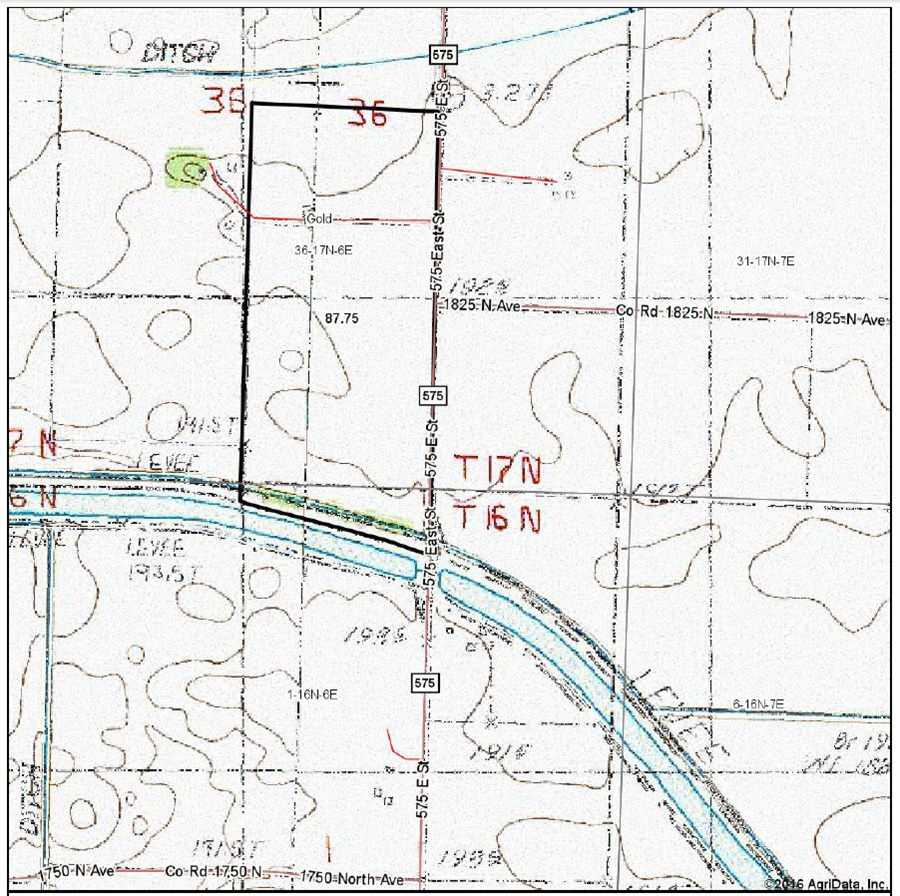 Topographical Map of 87 acres in Gold Township, Burerau County