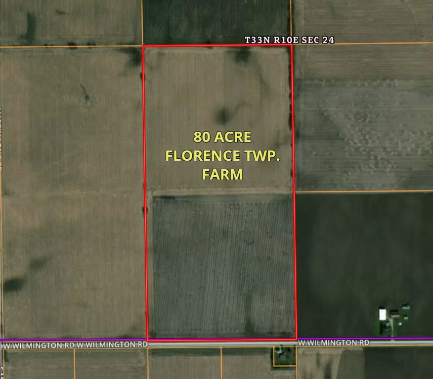 Aerial Map of 80 Acres Wilmington-Peotone road, Florence Township, Will County