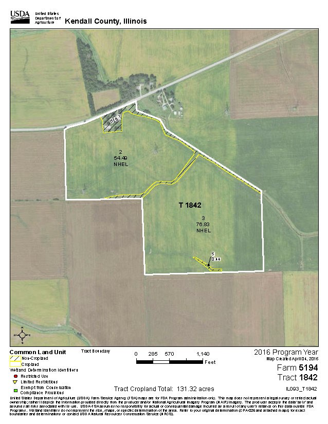 FSA Map of 117 acre Lisbon Farm