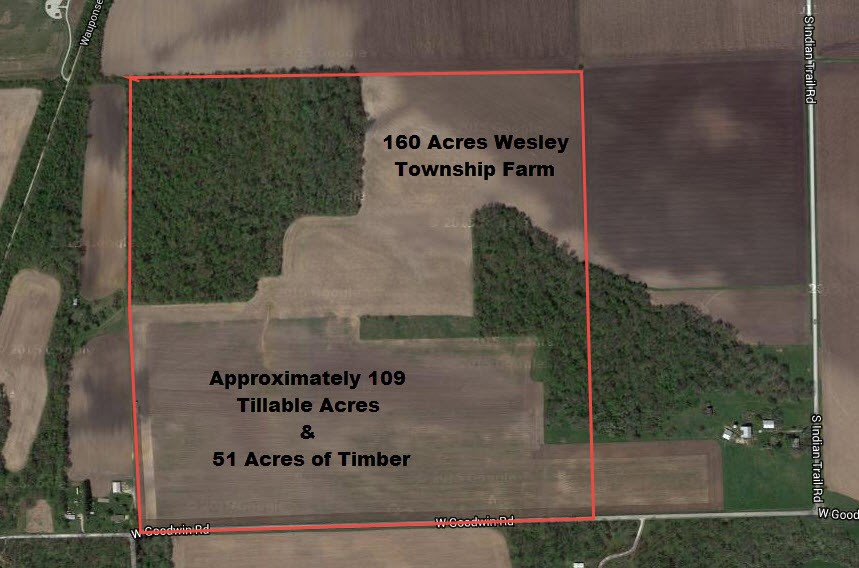 Aerial Map with tillable & timber breakdown, Wesley Township Farm, Will County IL