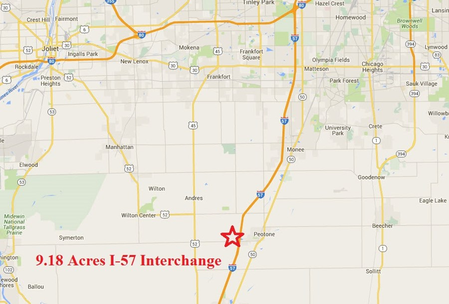 Location Map of I-57 Commercial Lot at Peotone