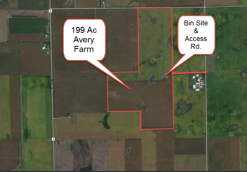 Aerial Map of Avery 199 acre farm grain storage, LaSalle County