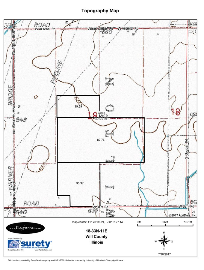 Topographical Map of the 120 Acre North side of Barr Rd in Wilton Township