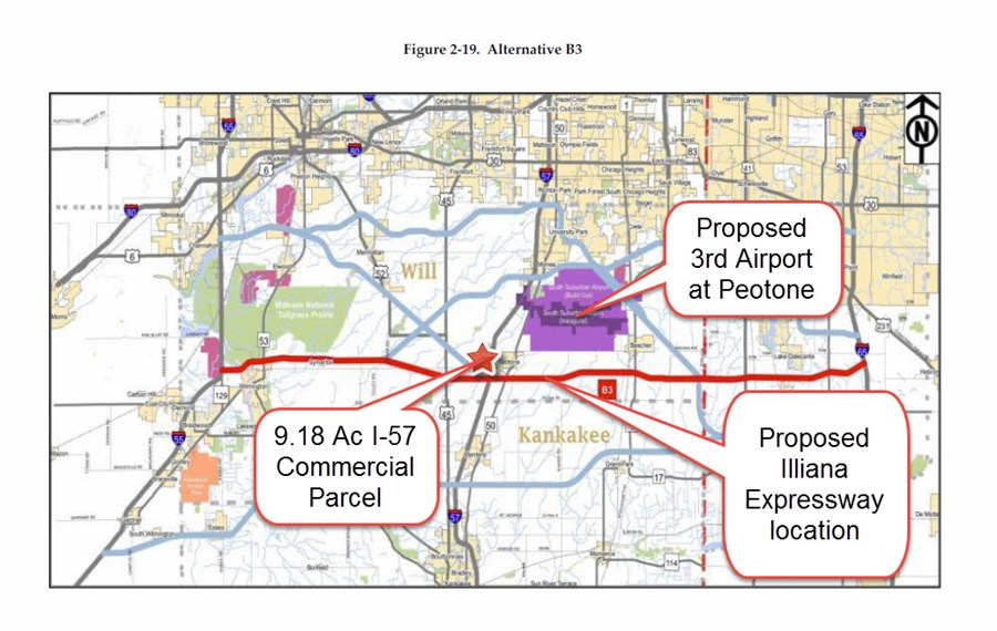 Proposed Illiana & Peotone Airport Location