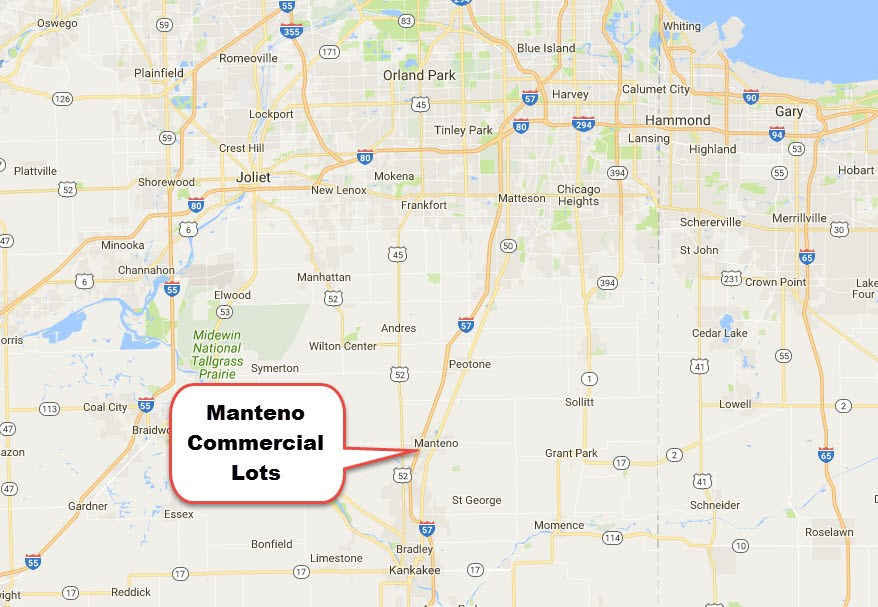 Location Map for Manteno Commercial Lots