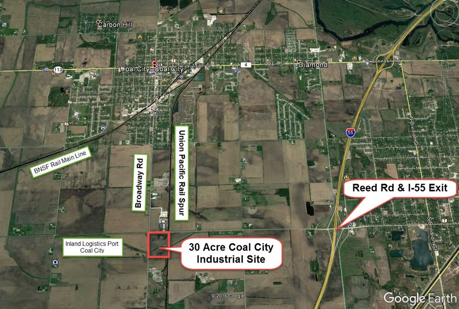 Aerial Map of Coal City 30 acre Industrial site