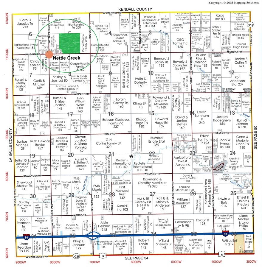 Plat Map of 155 acres in Nettle Creek Township, Grundy County Illinois