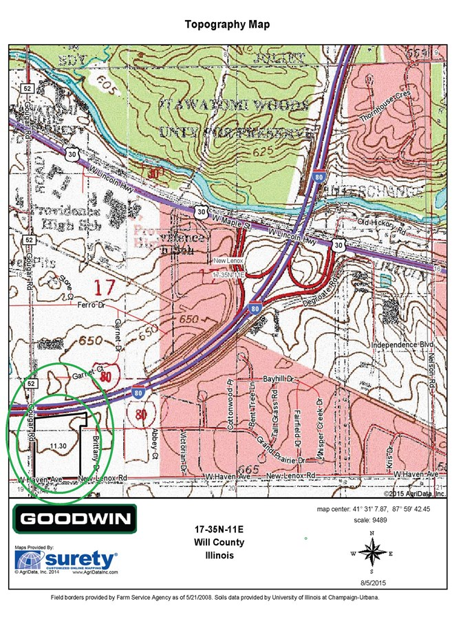 Topographical Map New Lenox, 10.97 acres