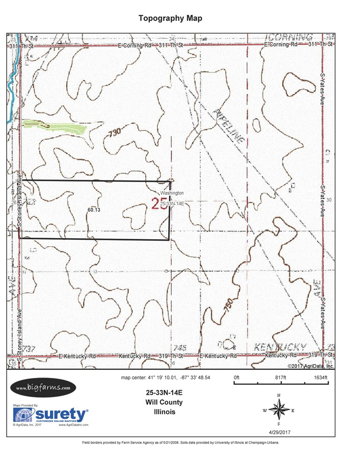 Topographical Map of 60 acres in Washington Township, Will County