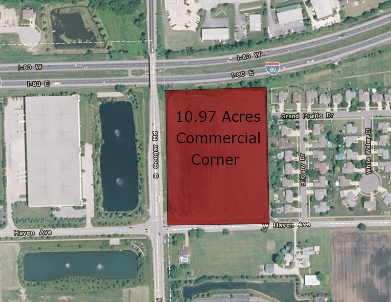 Aerial Map of 10.97 acres at the corner of Gougar road & Haven road, New Lenox, IL
