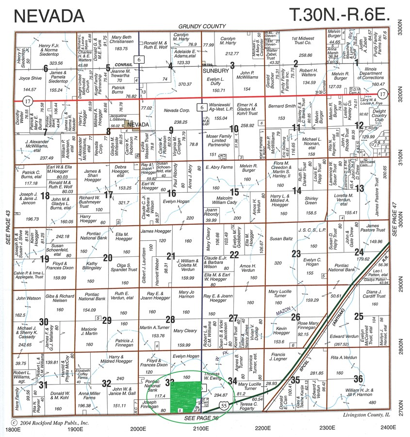 140 Ac  Nevada Township Plat Page, Livingston County Illinois