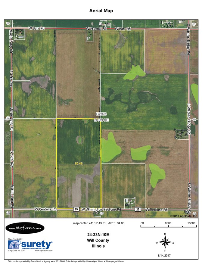 FSA Map of Florence Township 80 Acres, Will County Illinois