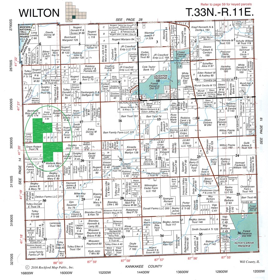 Plat Map of 260 Acre Hotz Farm Wilton Township, Will County