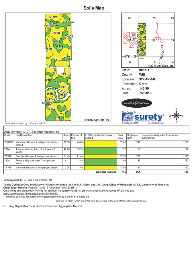 Soil map 160 acre Haage farm, Crete Township