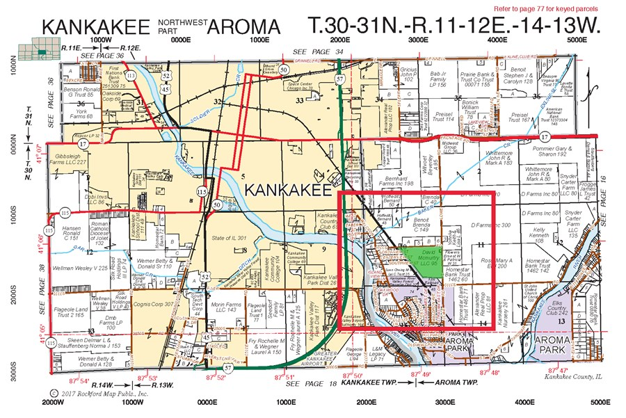 Plat Map of 99 Acres Aroma Township Farm