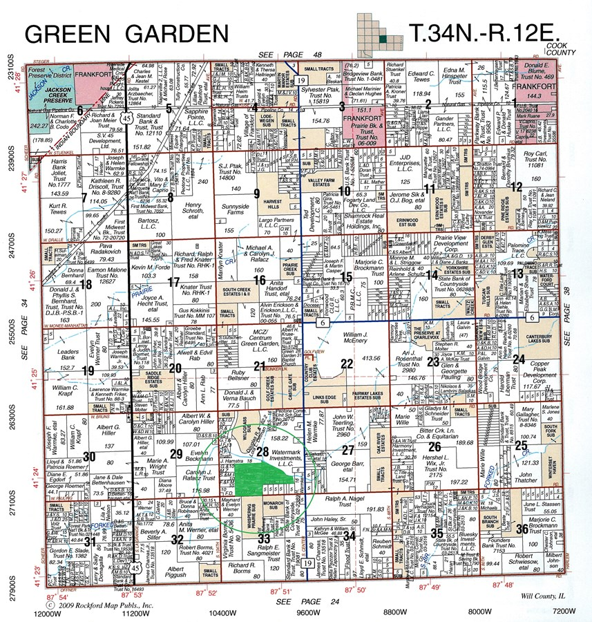 Plat Map of 121 acres farm Green Garden Township, Will County Illinois