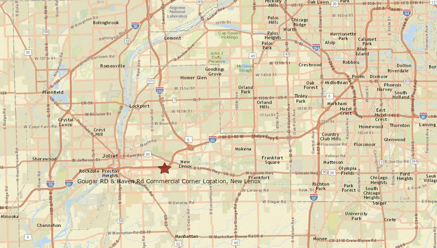 Location Map for Gougar road and Haven road, New Lenox Illinois