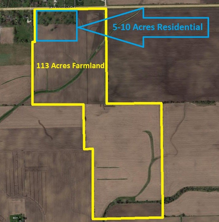 Aerial Map of Residential 5-10 acres and 113 acres of Farmland, Wilton Township