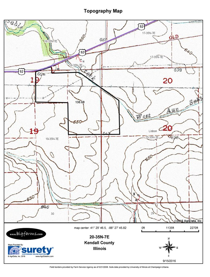Topographical Map for 117 Acres Lisbon Township, Kendall County