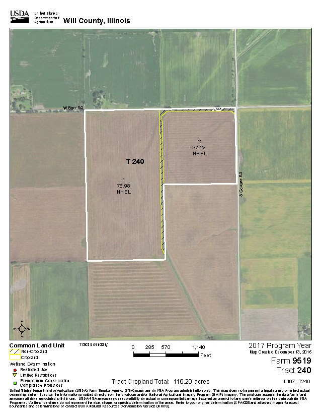 USDA  Map for 120 Acres Wilton Township, Will County