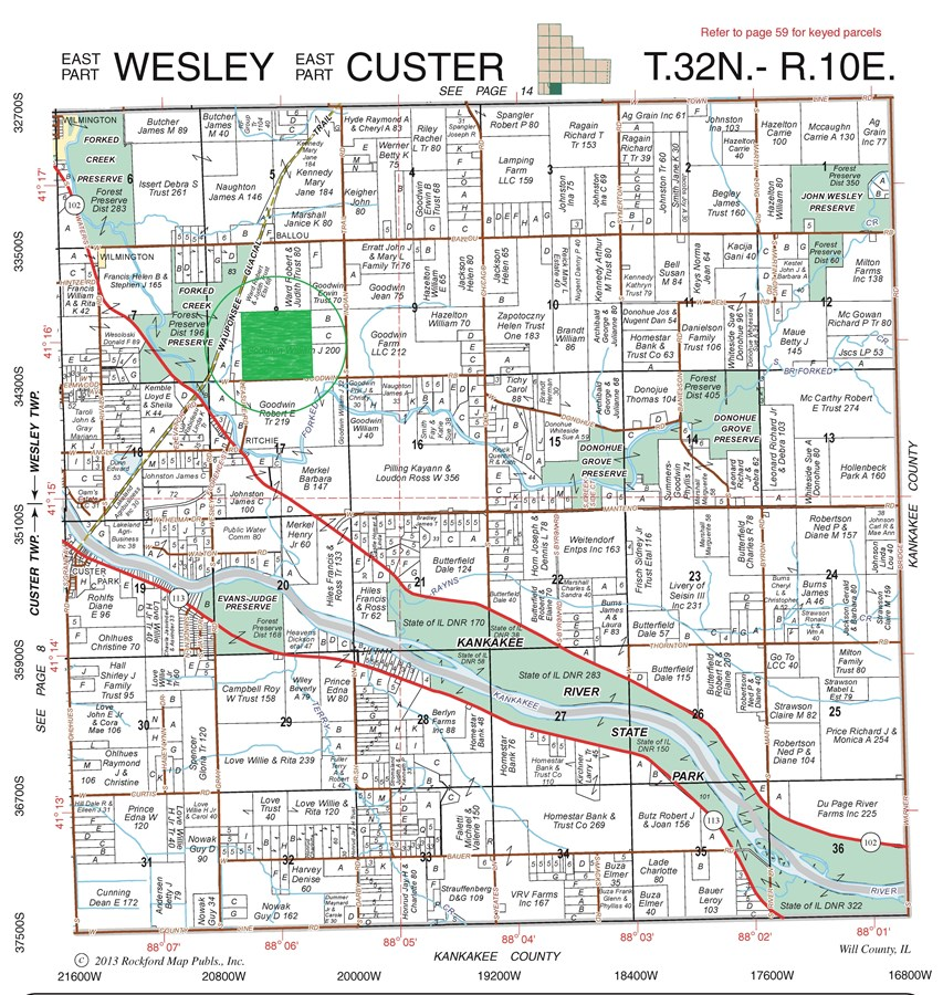 Plat Map of Wesley Township 160 acres farmland, Will County Illinois