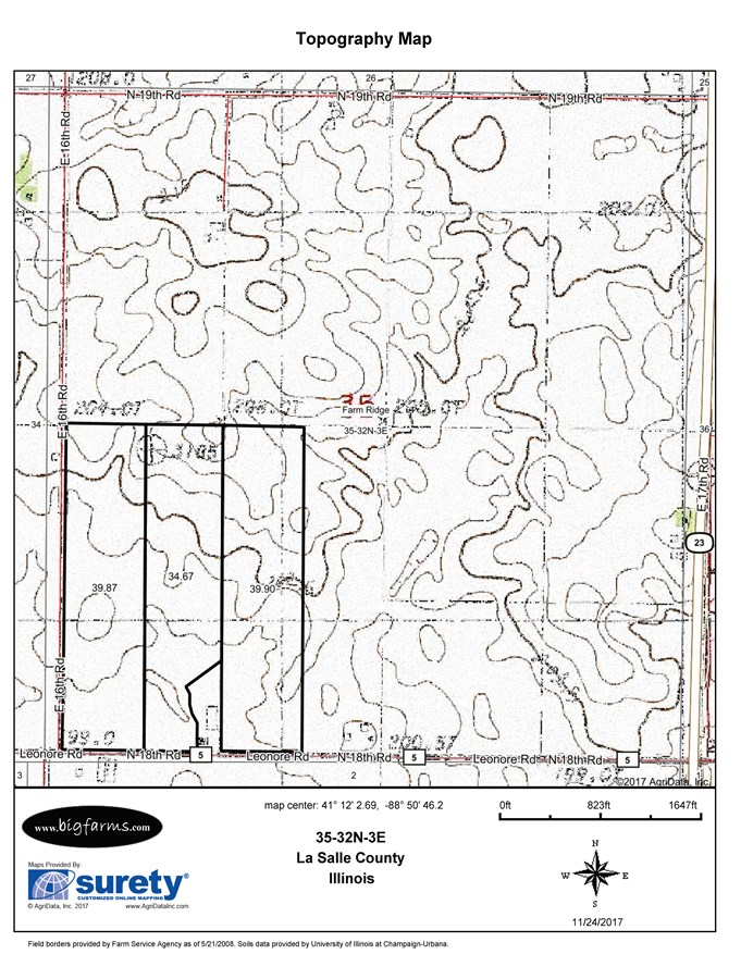 Topographical Map of 120 Acre Vermilion Township, LaSalle County