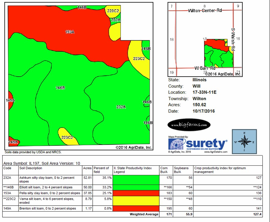 Soil Map of the 150 Acre Wilton Township Farm, Will County