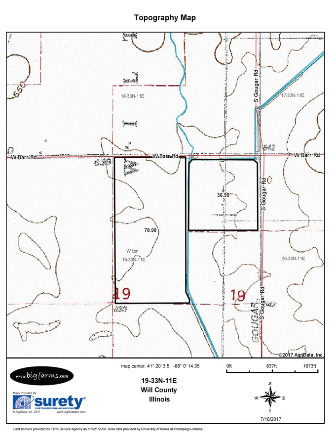 Topographical Map of the 120 Acre South side of Barr Rd in Wilton Township
