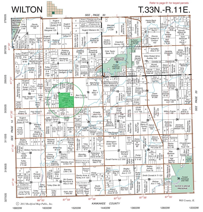 Plat Map of the 150 Acre Wilton Township Farm, Will County