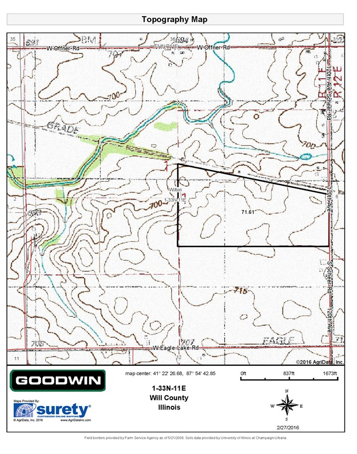 Topographical Map for 74 Acres in Wilton Township