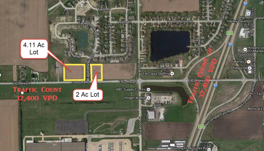 Traffic Count map for Manteno, IL Commercial lots