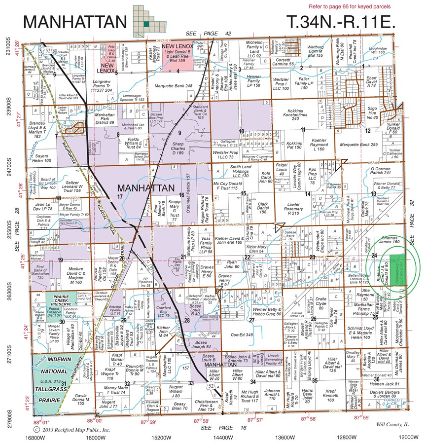 Plat Map of 25 Acres Manhattan Township, Will County