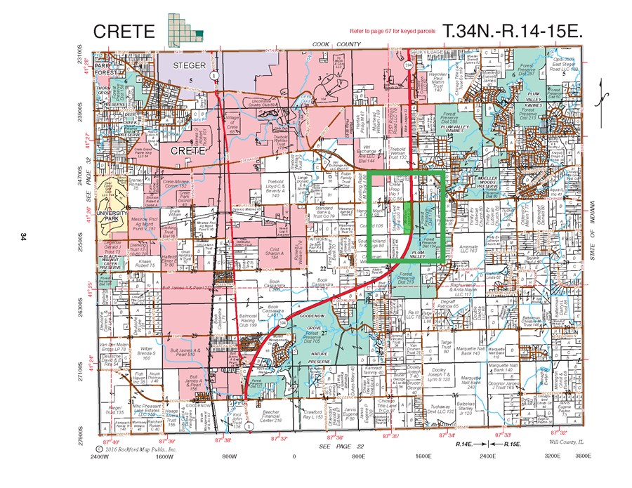 Plat Map of 35 Acres Development Site,  Crete Township, Will County