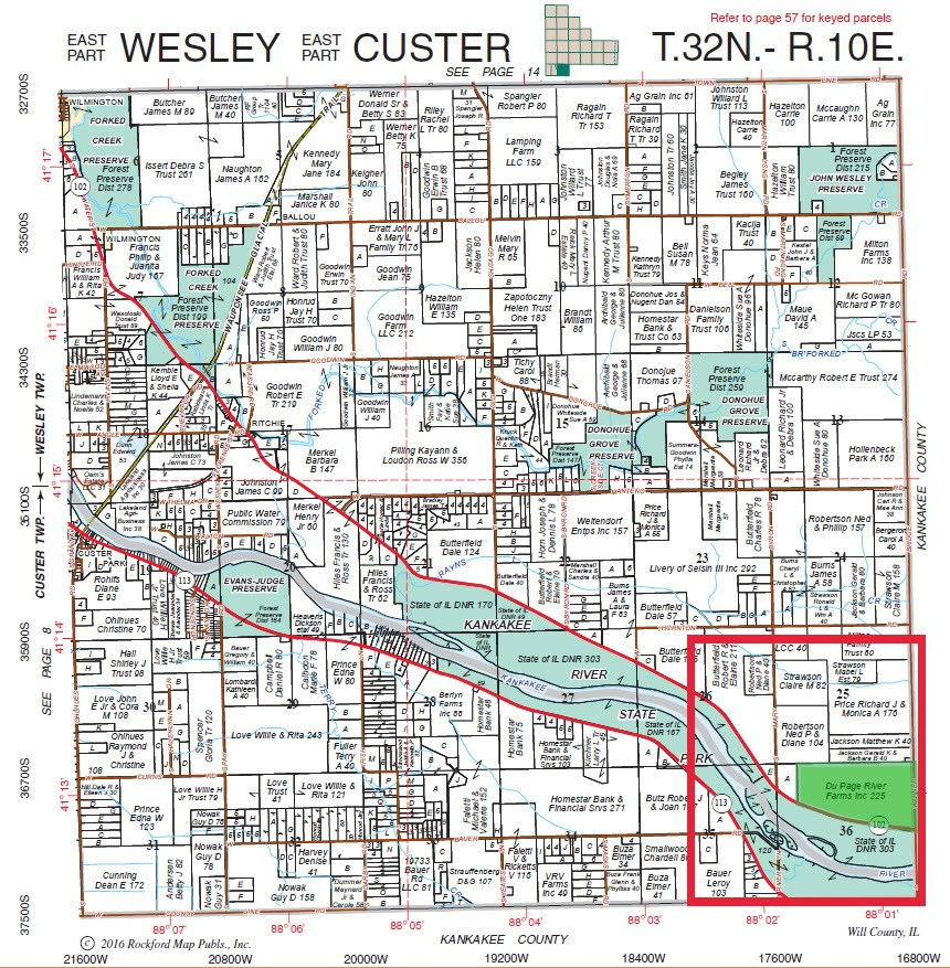 Plat Map of 225 Acres Wesley Township, Will County Illinois