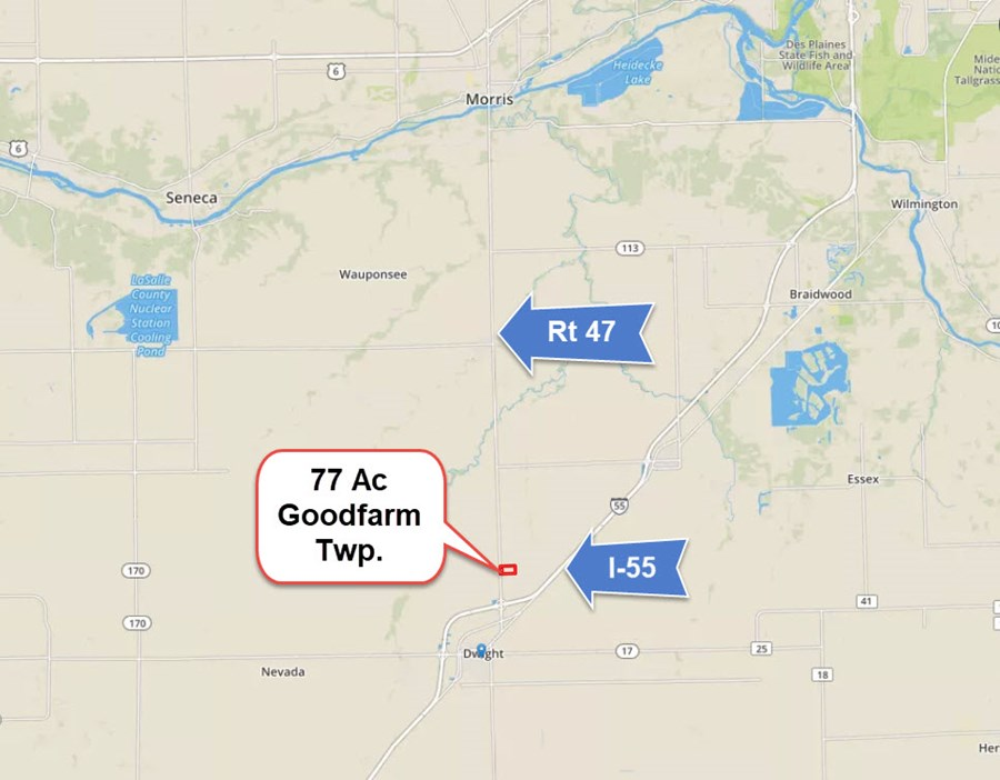 Location Map of 77 acre Goodfarm Township, Grundy County