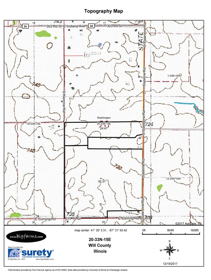 Topographical Map of 119 Acre Washington Township