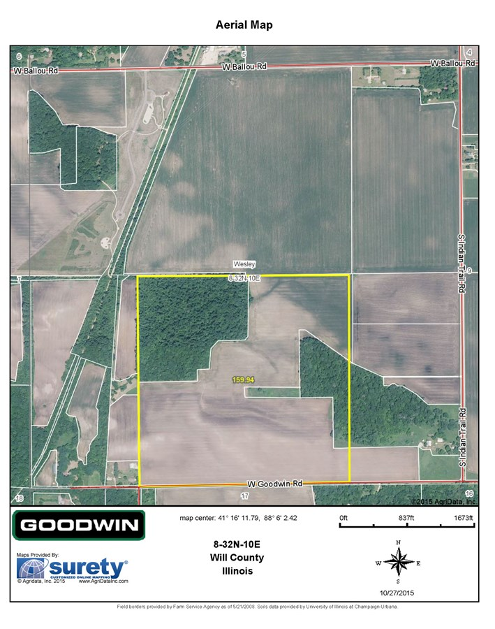 FSA Map of Wesley Township 160 acre Will County Illinois
