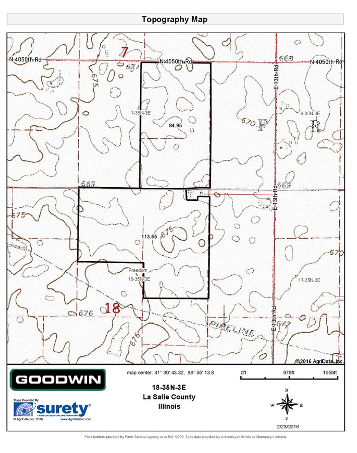 Topographical Map for 199 Acres Freedon Township, LaSalle County
