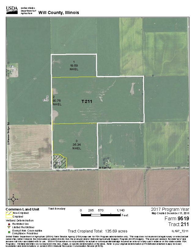 USDA  Map for 140 Acres Wilton Township, Will County